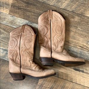 Dingo - 5.5, tan leather, heeled cowboy boots